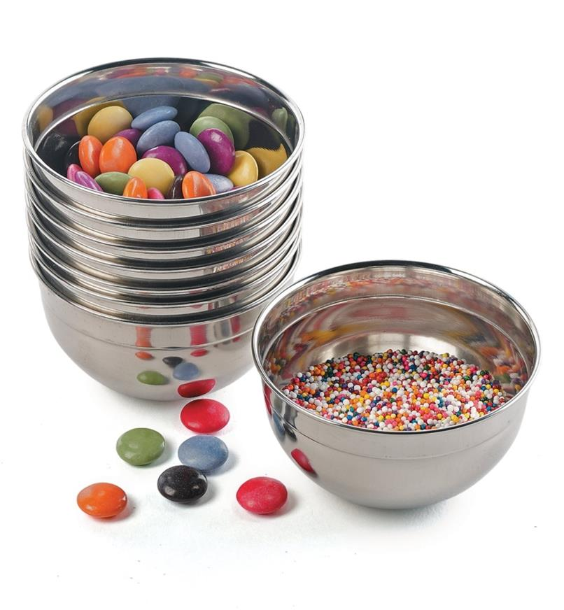 Stainless-Steel Bowls filled with candies