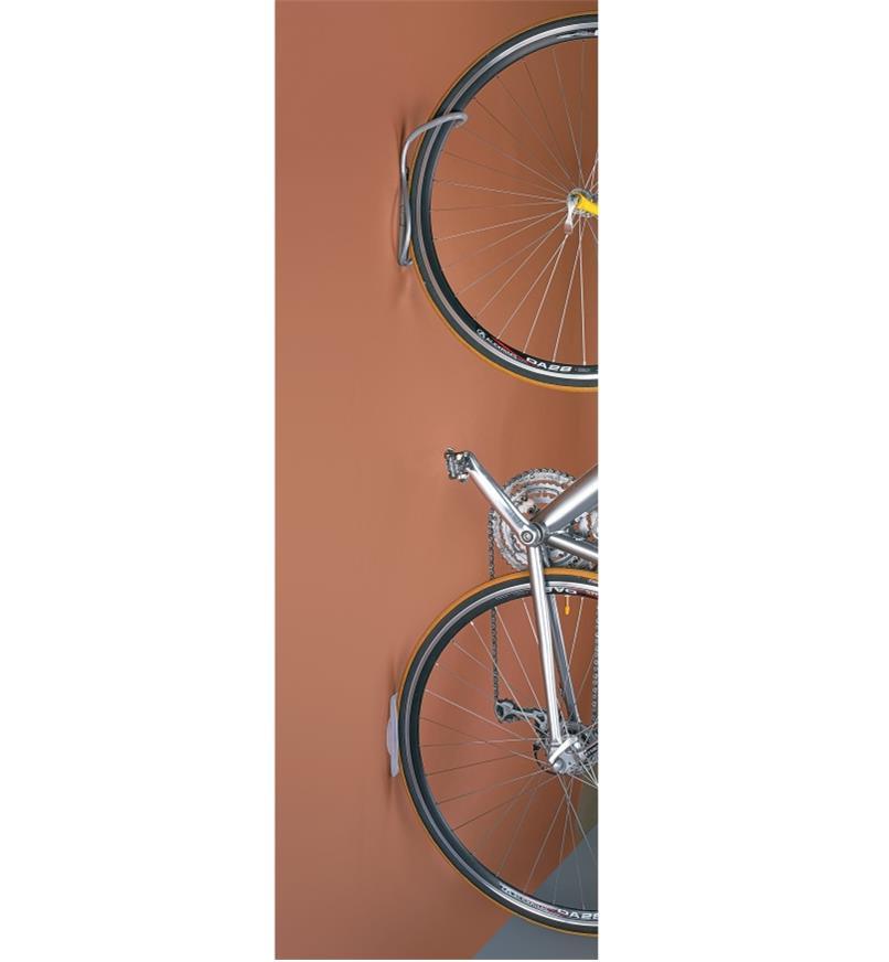 Bike hanging on a Vertical Single Bike Rack mounted on a wall