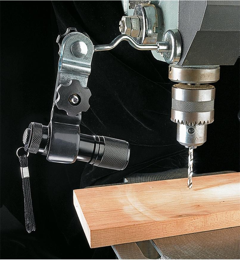 Flashlight holder affixing a flashlight to a drill press