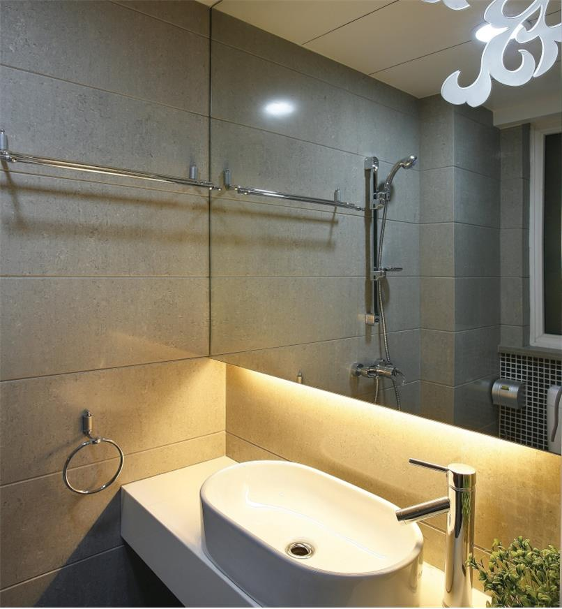 Example of white LED tape lighting used in a bathroom