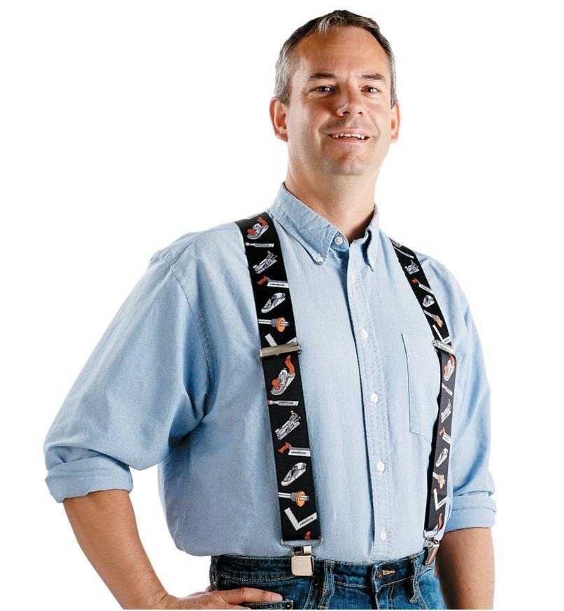 Front view of a man wearing Veritas Suspenders