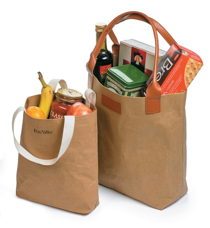 Two Tree Leather Tote Bags filled with groceries