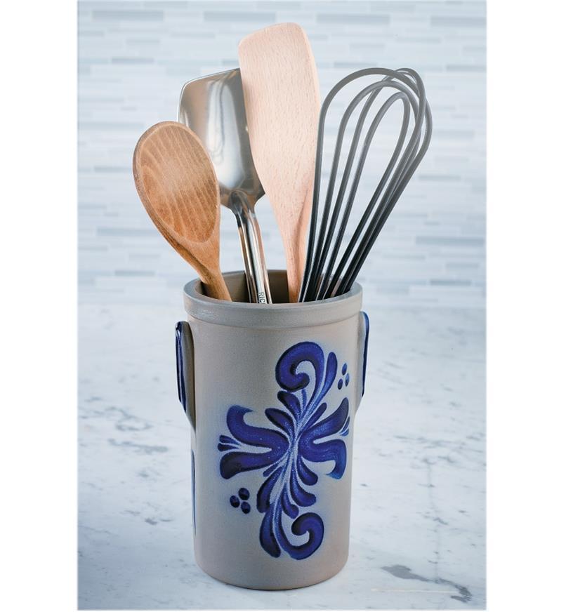 Salt-Glazed Crock filled with cooking utensils