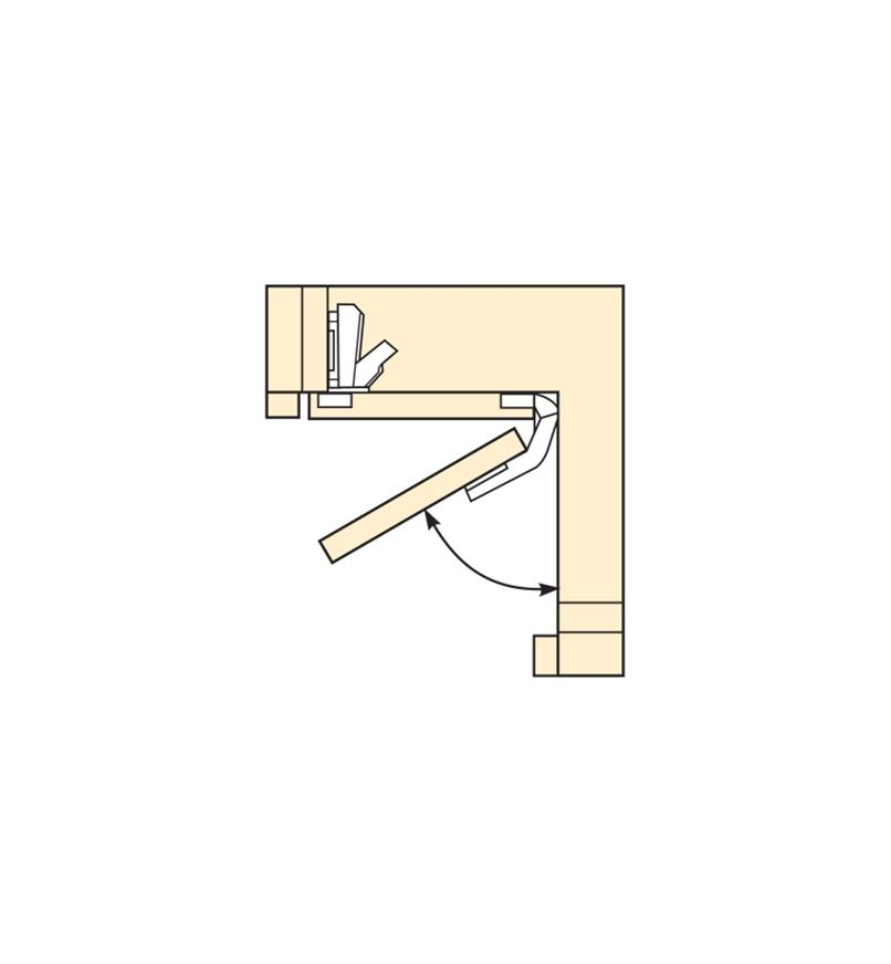 Diagram of bi-fold door opening 60°