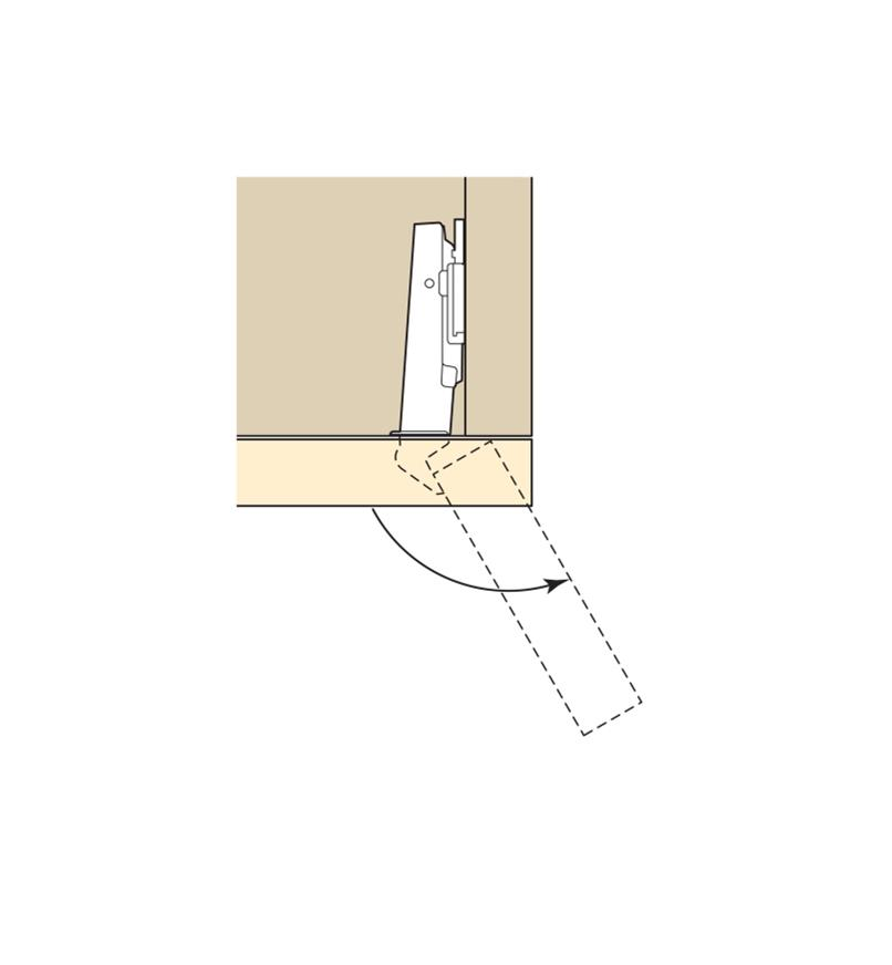 Diagram shows opening range of 120° Overlay Clip-Top Hinges