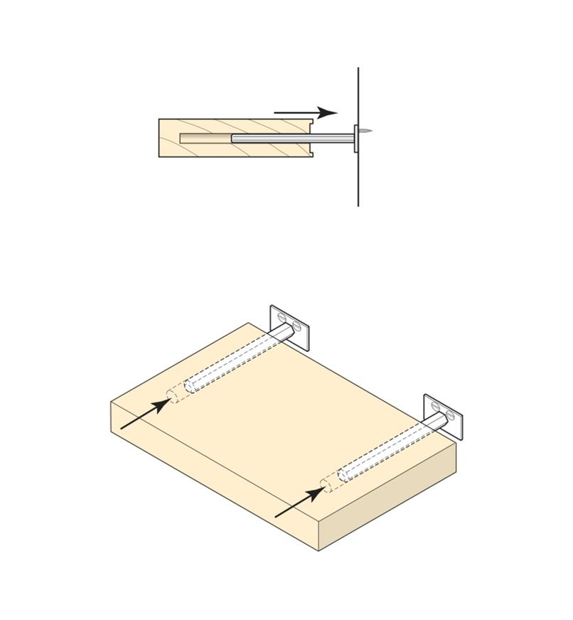 Illustrations shows how shelf support posts slip into holes drilled in a shelf