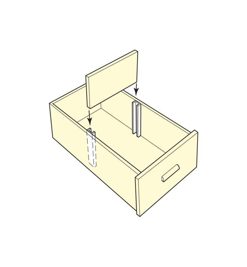 Illustration of divider being inserted into a drawer using two drawer dividers