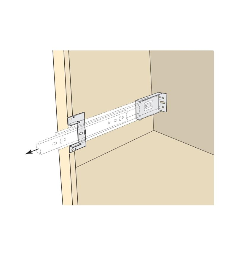 Illustration of brackets used to attach a slide to a cabinet wall