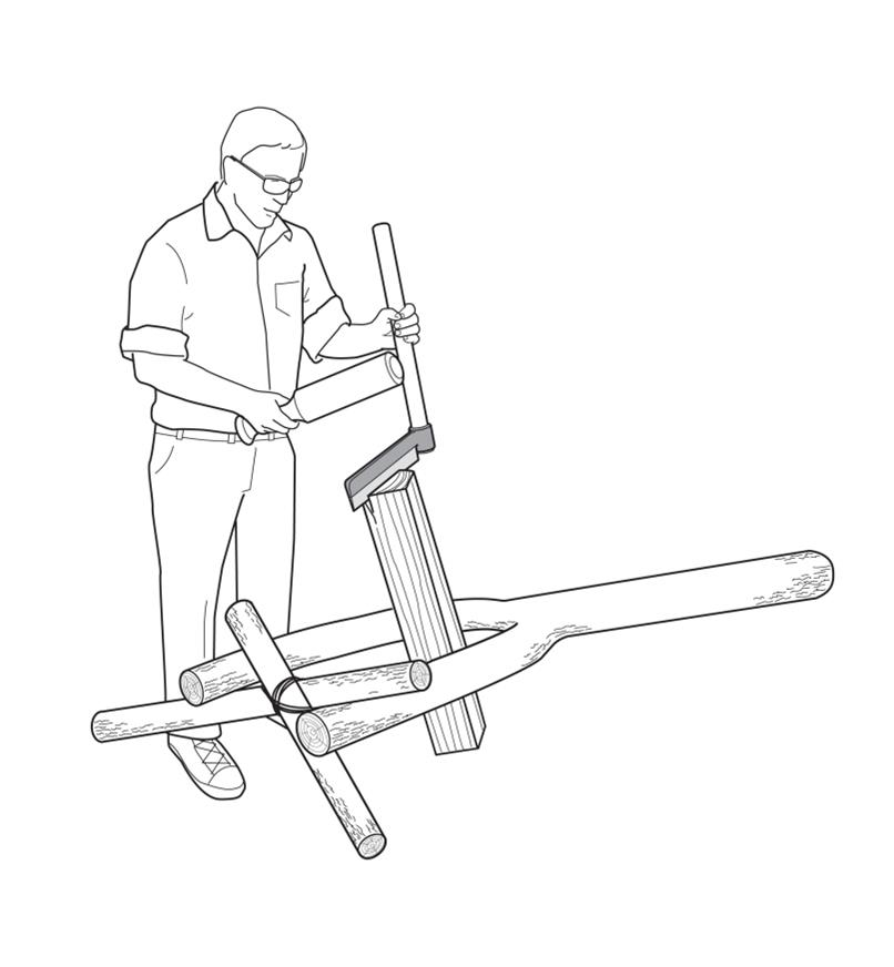 Illustration of a man riving a block of wood that is held in a user-made support