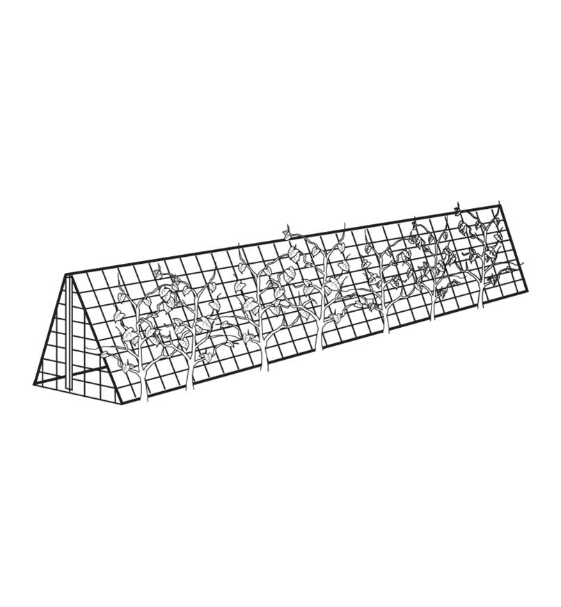 Illustrated example of triangular trellis over a garden row, made with Garden Netting