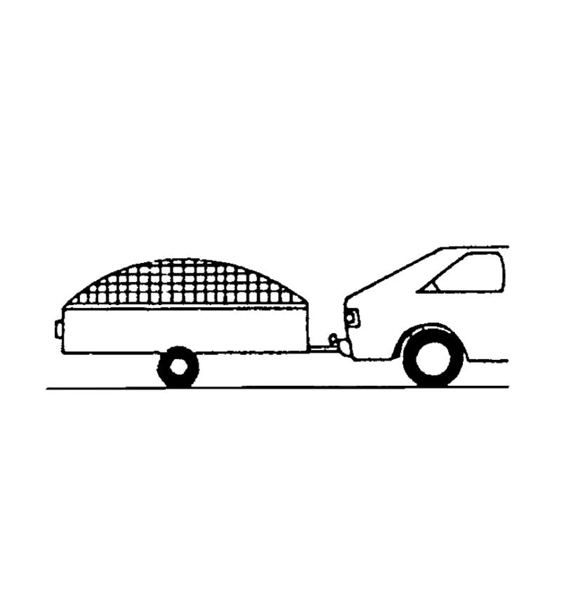 Illustrated example of a garden netting used as a load cover over a trailer pulled by a car