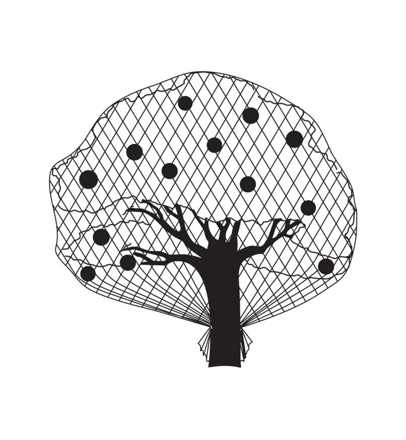 Illustrated example of a fruit tree covered in garden netting