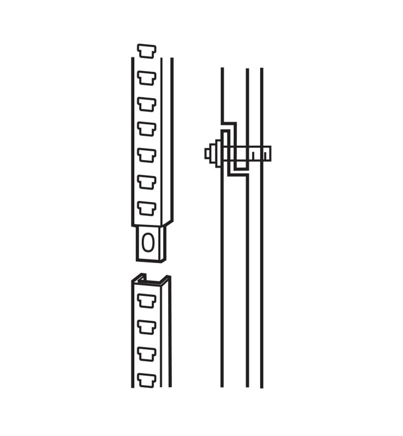 Illustration of wall straps being joined with a bolt