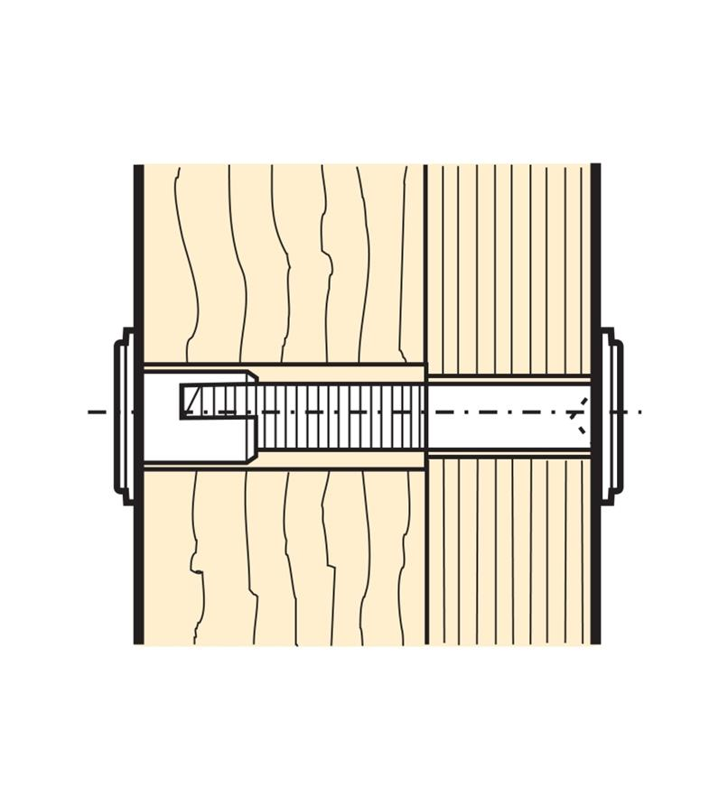 Cutaway illustration of installed Quick-Connect Bolt Cap