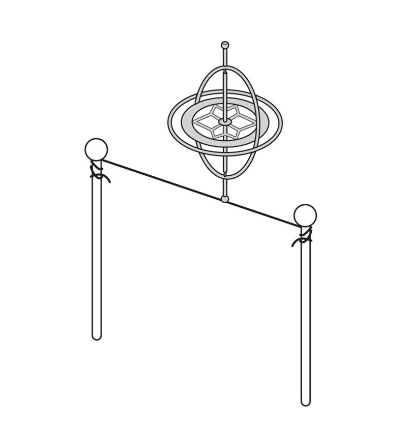 Diagram demonstrates gyroscope spinning on a tight wire
