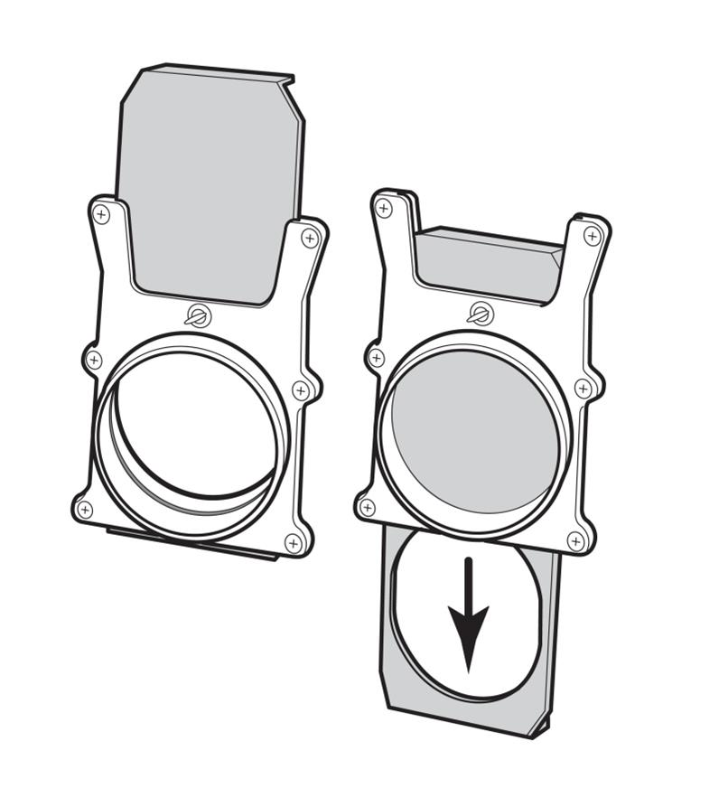 Illustration of Self-Cleaning Blast Gates in open and closed positions