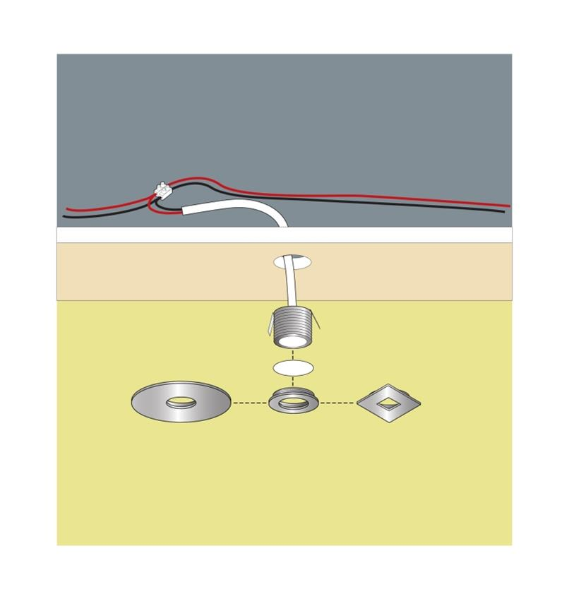 Diagram shows how mini recessed LED light is installed in a ceiling