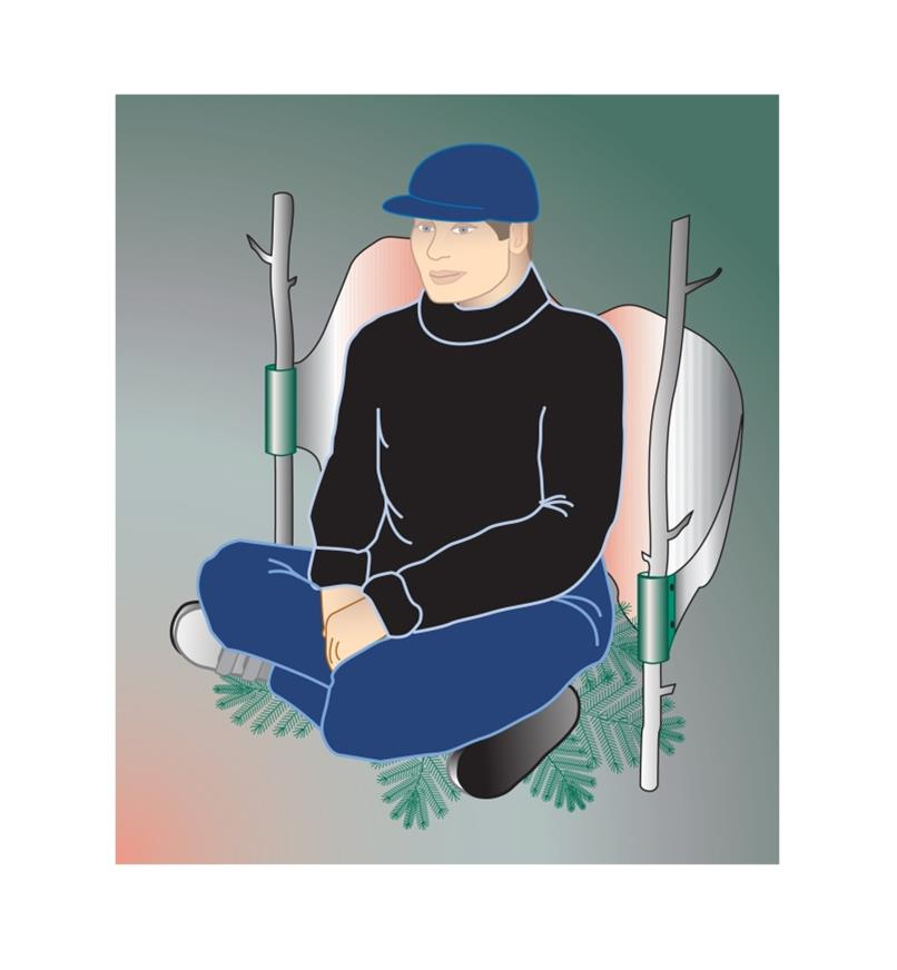 Illustration of a man using the Campfire Back Warmer held between two sticks
