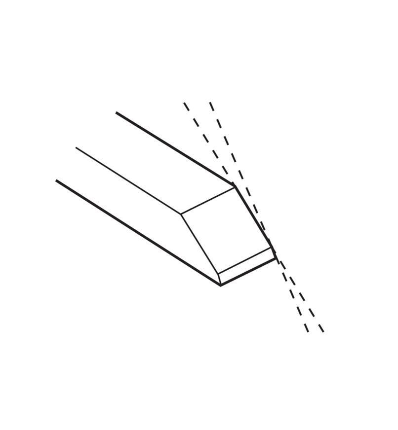 Illustration montrant un microbiseau sur une lame de ciseau affûtée