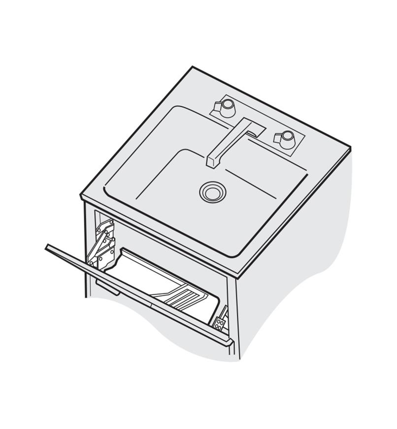 Illustration of tip-out tray installed below a sink
