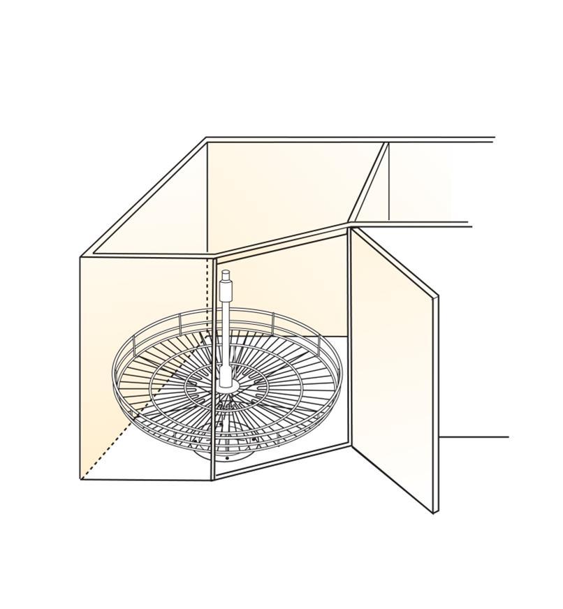 Illustration of 360° post-mount shelf installed in cabinet