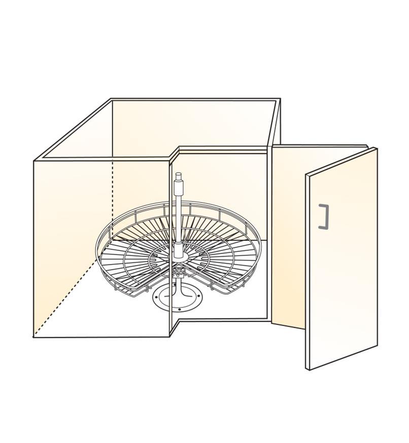 Illustration of 270° post-mount shelf installed in cabinet