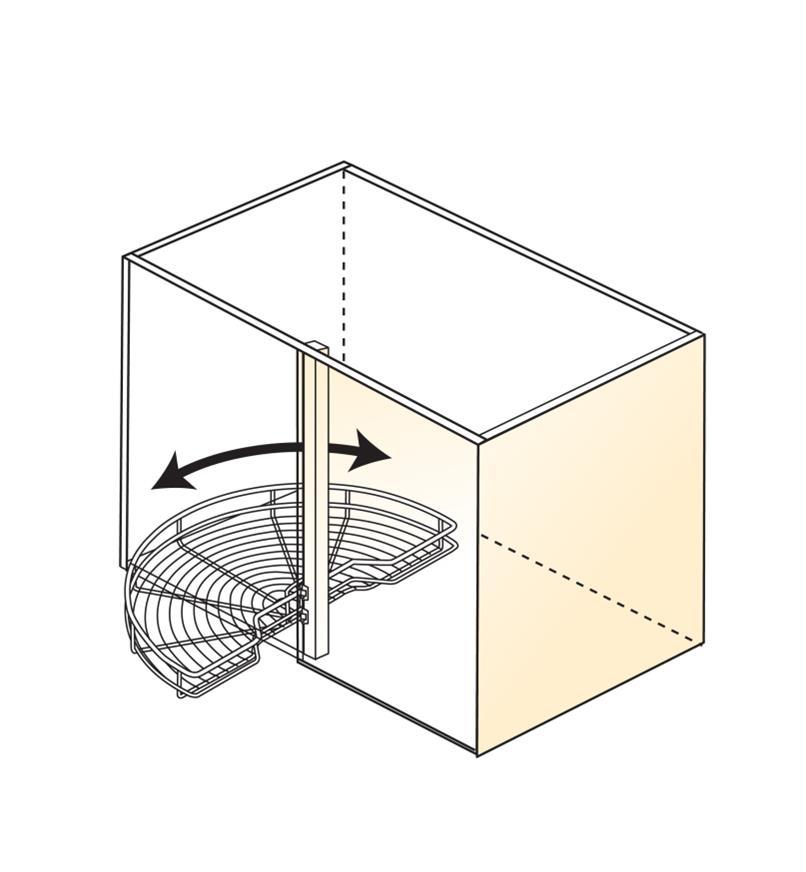 Illustration of 180° frame-mount shelf installed in cabinet