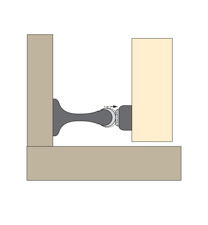 Illustration of doorstop contacting the strike plate
