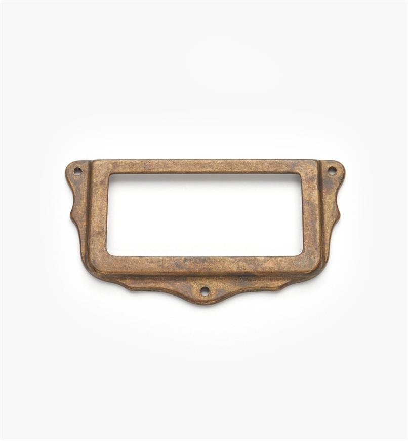 01A5761 - Porte-étiquette, laiton ancien, 75 mm x 40 mm