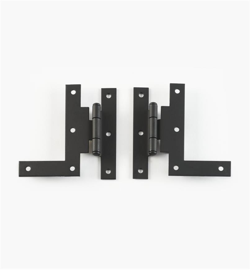 01X3540 - Pentures-équerre déportées, fini lisse, 3 po x 1 11/16 po, la paire