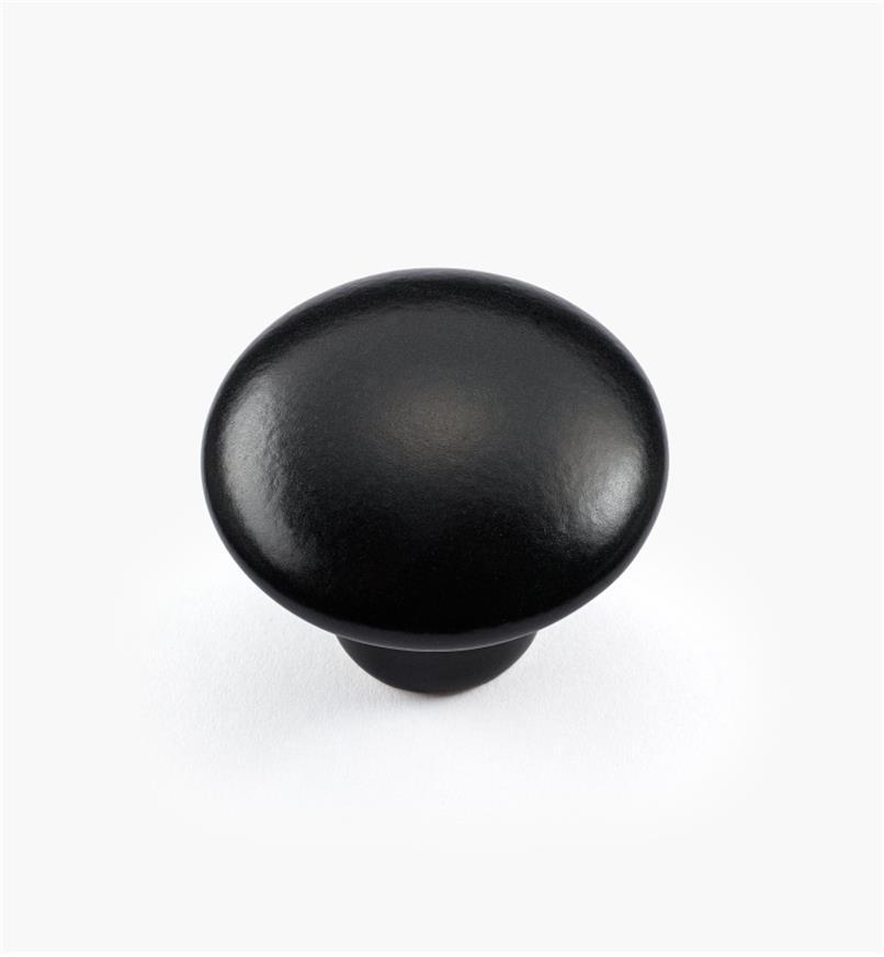 00W5284 - Bouton satiné, noir, 1 3/8 po x 1 1/8 po