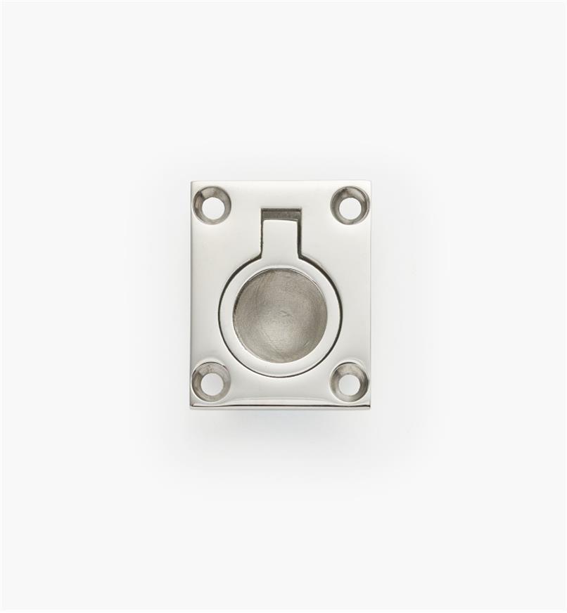 00S3021 - Petite poignée à anneau à encastrer,  1 1/2 po x 1 7/8 po