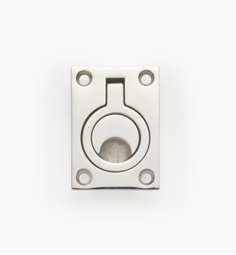 00S3022 - Grande poignée à anneau à encastrer, 1 3/4 po x 2 1/2 po