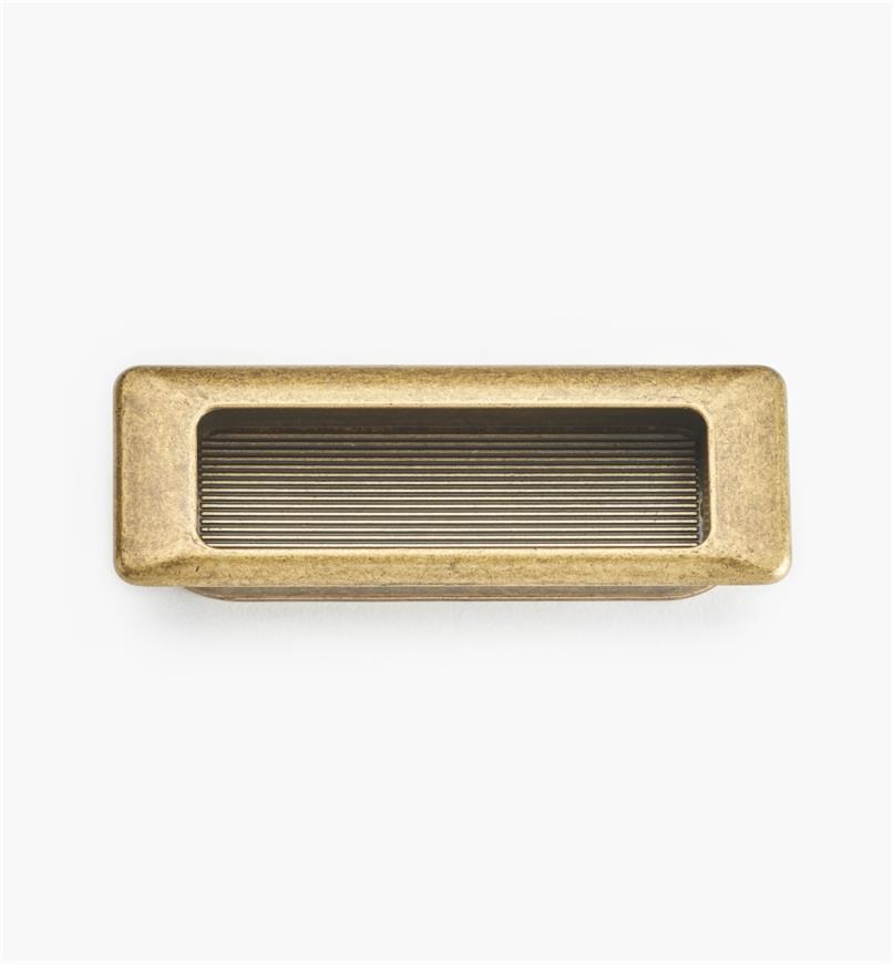 01X4213 - Poignée encastrée rectangulaire, fini laiton antique, 90 mm x 31 mm