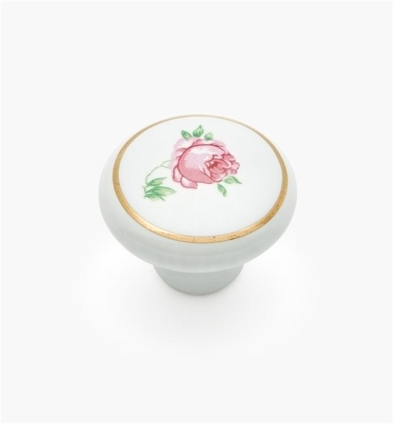 03W1610 - Bouton en céramique, rose, 11/4pox7/8po, l'unité