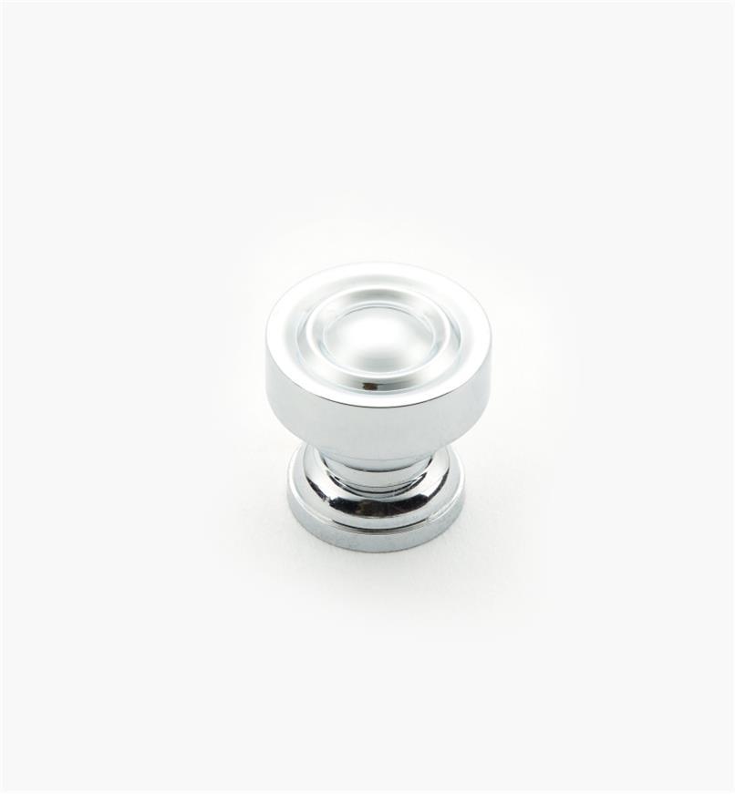 01W1301 - Petit bouton en laiton, fini chromé, 9/16pox9/16po