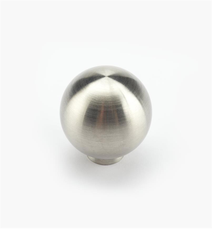 01W6925 - Bouton-boule en acier inoxydable, fini brossé, 25 mm x 26 mm