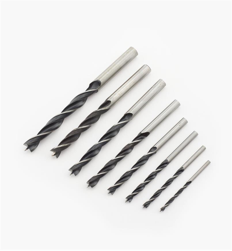 33J0141 - Set of 8 (3mm to 10mm) Brad-Point Drills