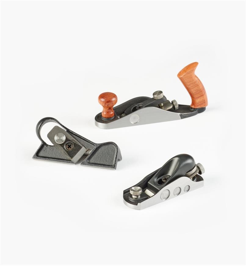05P8265 - Ensemble de 3 rabots miniatures classiques Veritas (rabot de coupe, rabot à épaulement, rabot d'atelier)