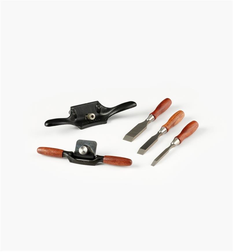 05P8267 - Ensemble de 3 outils miniatures Veritas (vastringue, ciseaux à bois, racloir d'ébéniste)