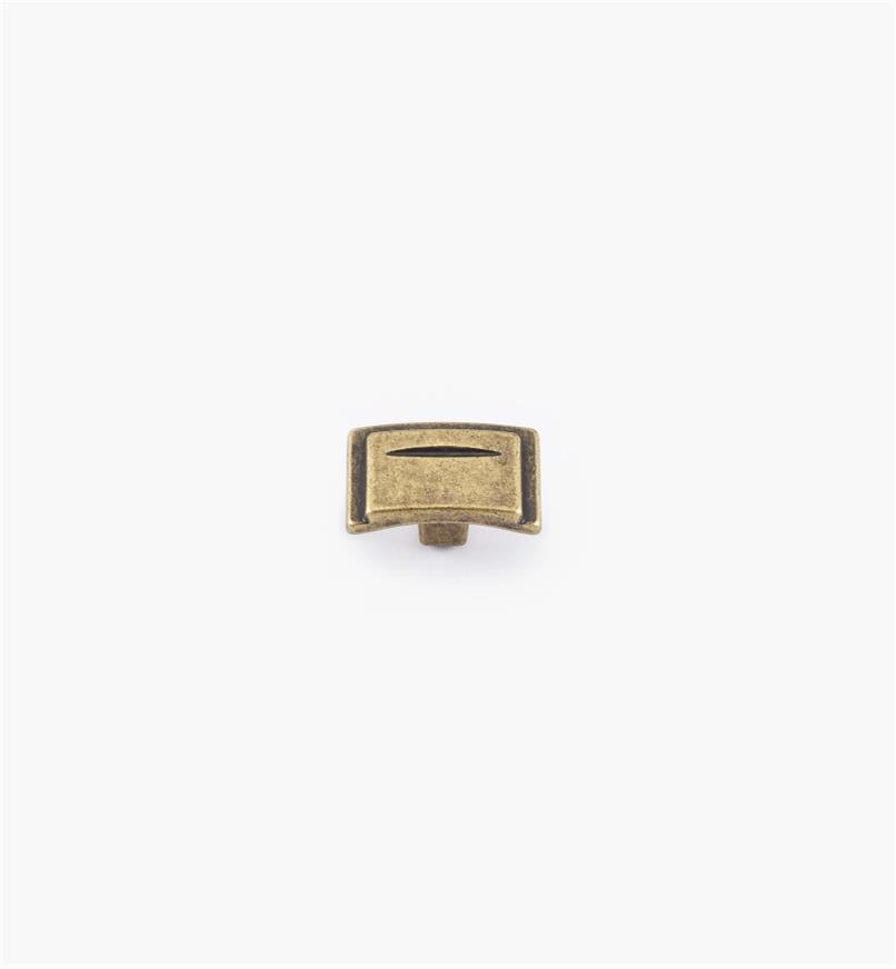 01A2460 - Bouton de 11/2po, série Art déco, fini laiton antique