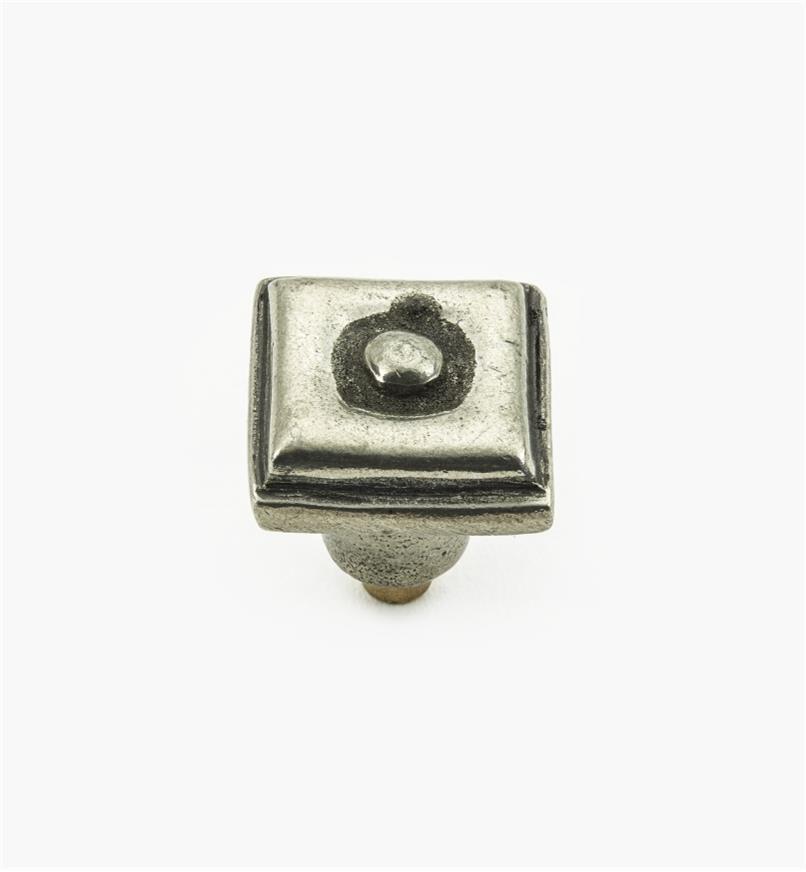 01W4060 - Bouton carré de 3/4pox 3/4po, série Bright, en étain