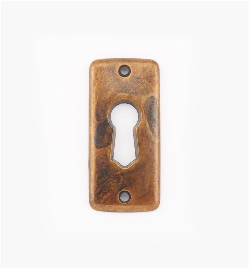 01X4006 - Entrée de serrure classique, fini laiton ancien, 21 mm x 45 mm