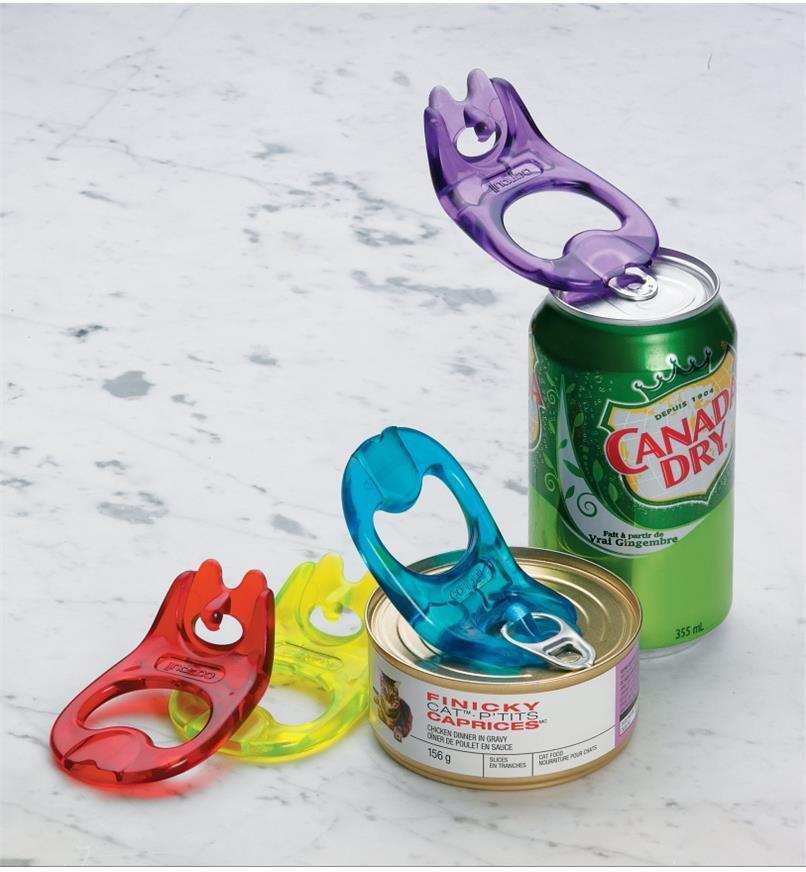 Ouvre-canettes prêts à ouvrir une canette de boisson gazeuse et une boîte de conserve de nourriture pour chat