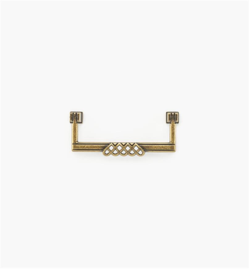 01A3011 - Poignée tombante ornée d'entrelacs et de perles de 4 1/4 po, fini laiton antique (96 mm)