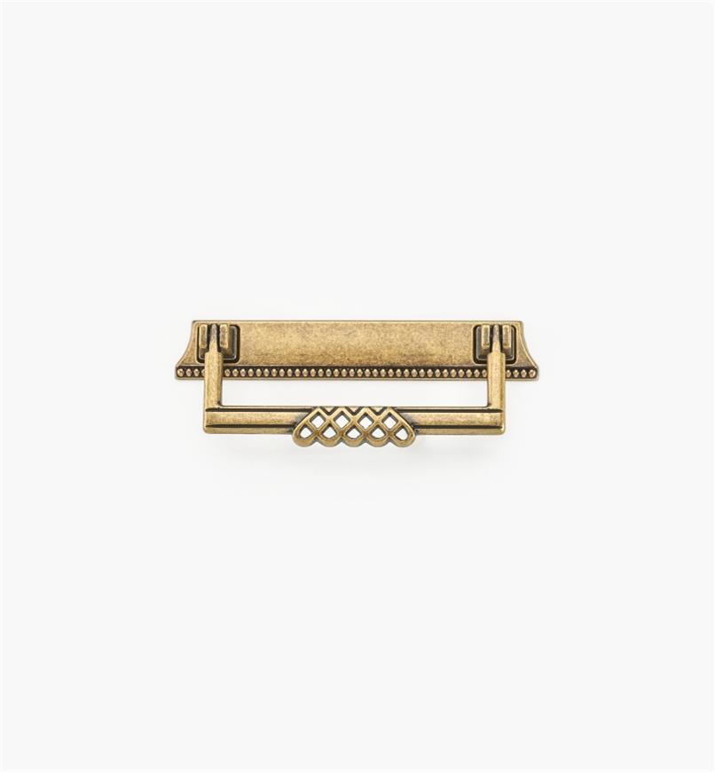 01A3012 - Poignée tombante sur platine ornée d'entrelacs et de perles de 5 po, fini laiton antique (96 mm)