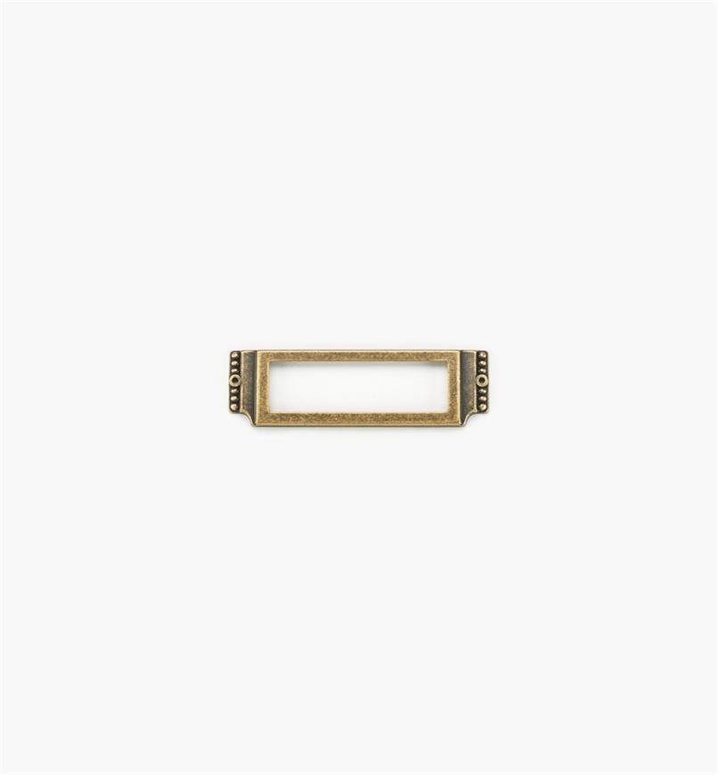 01A3021 - Porte-étiquette orné d'entrelacs et de perles de 3 1/2 po x 1 po, fini laiton antique