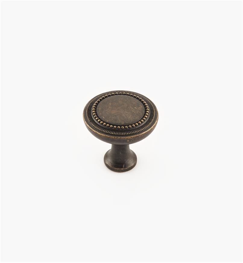 02W4051 - Bouton Kentwood, fini bronze oxydé foncé, 1 1/4 po x 1 3/16 po