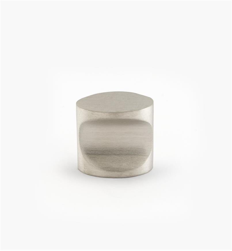 01W8553 - Bouton à encoche ovale en acier inoxydable, fini brossé, 18 mm x 2 mm x 19 mm