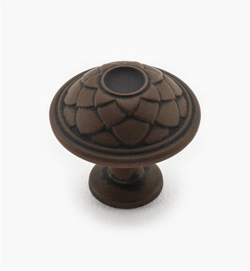 02A1260 - Bouton décoratif, fini rouille mat